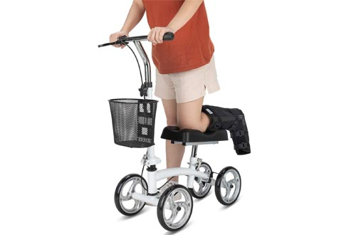OasisSpace Small Size Lightweight Knee Scooters Walker,Compact and Portable Knee Walker Crutches Alternative for Foot Injuries Support up to 250LBS (White)