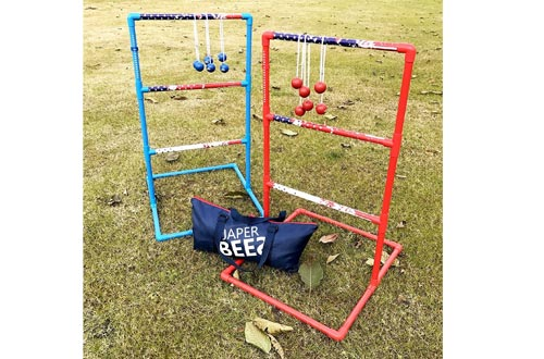 JAPER BEES Strong Ladder Ball Toss Game Set, Outdoor Lawn Game with Rubber Bolo Balls Fasion Carrying Bag