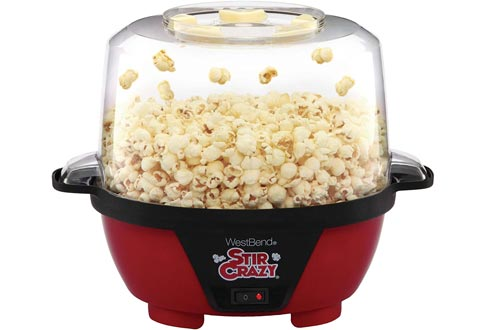 West Bend 82505 Stir Crazy Electric Hot Oil Popcorn Popper Machines with Stirring Rod Offers Large Lid for Serving Bowl and Convenient Storage, 6-Quart, Red