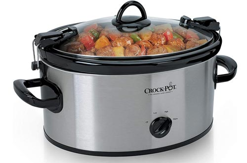 Crock-Pot SCCPVL600S Cook' N Carry 6-Quart Oval Manual Portable Slow Cookers, Stainless Steel