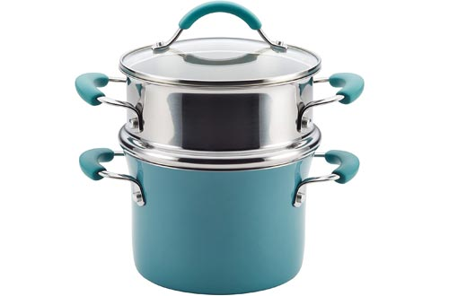 Rachael Ray 16799 Cucina Nonstick Sauce Pots/Saucepot with Steamer Insert and Lid, 3 Quart, Agave Blue