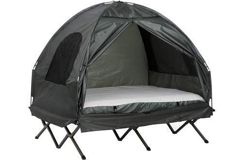 Outsunny Extra Large Compact Pop Up Portable Folding Outdoor Elevated All in One Camping Cots Tent Combo Set