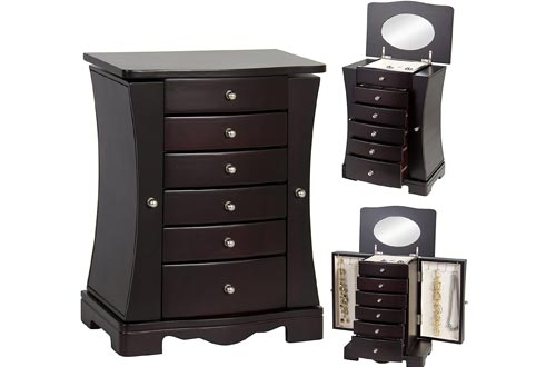 Best Choice Products Wooden Handcrafted Jewelry Boxes Organizer Armoire Cabinet Storage Chest, Dark Brown