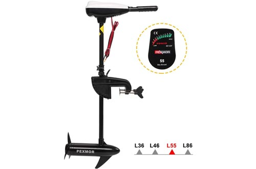 """PEXMOR Electric Trolling Motors 55LBS Thrust Saltwater Transom Mounted w/LED Battery Indicator 8 Variable Speed for Inflatable Boats, Jon Boat, Pontoon Fishing Boat (36"""" Shaft)"""