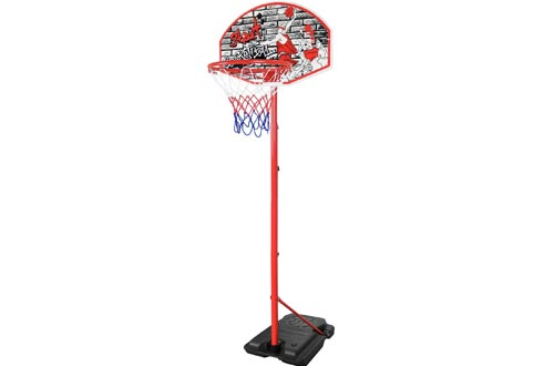 Kiddie Play Youth Basketball Hoops for Kids Indoor and Outdoor Stand 8.7' Portable and Adjustable Height