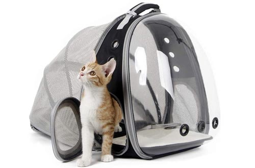 halinfer Expandable Cat Backpacks, Space Capsule Bubble Transparent Clear Pet Carrier for Small Dog, Pet Carrying Hiking Traveling Backpacks