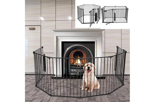 Pens Dog Fence Playpen | Foldable Pet Dogs & Cats Outdoor Exercise Pens,Portable Fence Barrier Kennel Puppy Cage Metal Exercise Playpen (from US, Black)