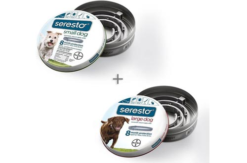 Bundle Bayer Seresto Flea and Tick Collars for Small Dog Large Dog 8 Month Protection, Single Pack Each