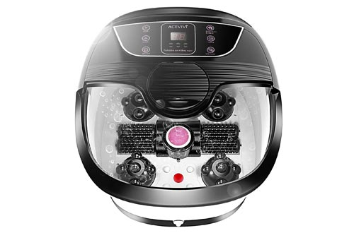 All in One Foot Spa Baths Massager with Heat, Motorized Shiatsu Roller and Bubble Jets, Rolling Massage Adjustable Time & Temperature Relieve Foot Pressure