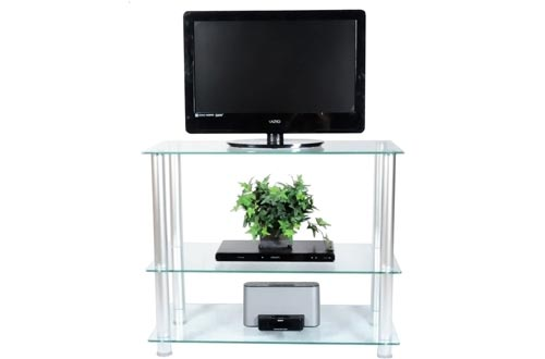 "RTA Home and Office Extra Tall Glass and Aluminum LCD and Plasma TV Stands for a 35"" TV"