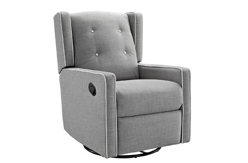 Baby Relax Mikayla Swivel Gliding Recliner, Gray Linen
