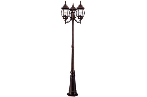 Acclaim 5179BW Chateau Collection 3-Head Surface Mount Outdoor Combination Post Lights, Burled Walnut