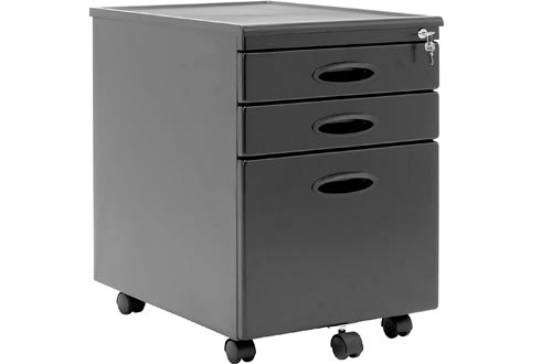 Calico Designs Metal Full Extension, Locking, 3-Drawer Mobile File Cabinets Assembled (Except Casters) for Legal or Letter Files with Supply Organizer Tray in Black