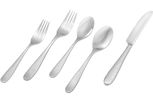 Stone & Beam Traditional Stainless Steel Flatware Silverware Sets, Service for 4, 20-Piece, Silver with Hammered Trim