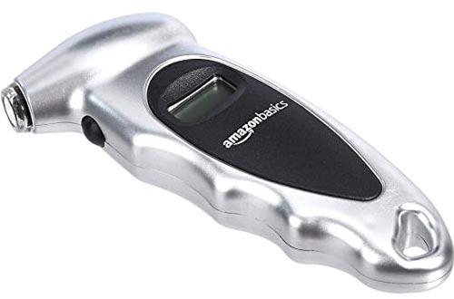 AmazonBasics Digital Tire Pressure Gauges - Silver, 2-Pack