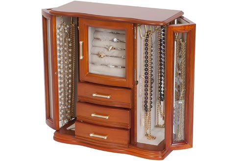 Mele and Co. Richmond Wooden Jewelry Boxes (Walnut Finish), Medium