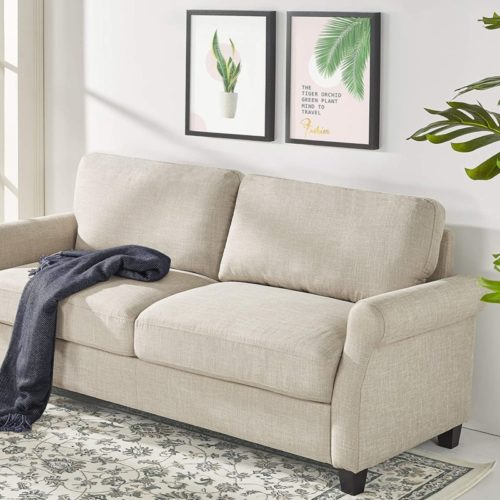 Zinus Josh Traditional Upholstered 56in Sofa Couch/Loveseat, Beige Weave