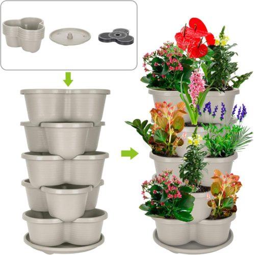 Indoor/Outdoor 5 Tier Gardening Tower| Hanging Planter (Off-White)