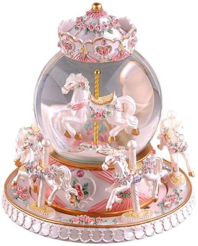 Autker-Rotate-Music-Box-Carousel-Crystal-Ball-Colorful-LED-Lights-Snowflake-Glass-Ball-with-Castle-in-The-Sky-Tune-Best-Birthday-Christmas-for-Kids-Girls-Women-Pearl-White