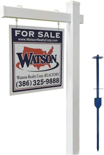 4Ever Products Vinyl PVC Real Estate Sign Post - White with Flat Cap - 5' Post TOP 10 BEST REAL ESTATE SIGN POSTS IN 2020 REVIEWS
