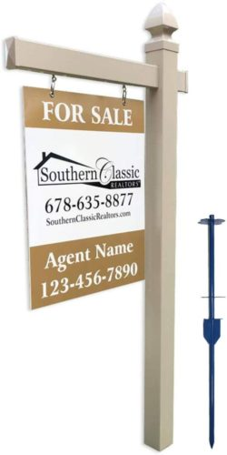 4Ever Products Vinyl PVC Real Estate Sign Post - Khaki with Gothic Cap - 5 Foot Post