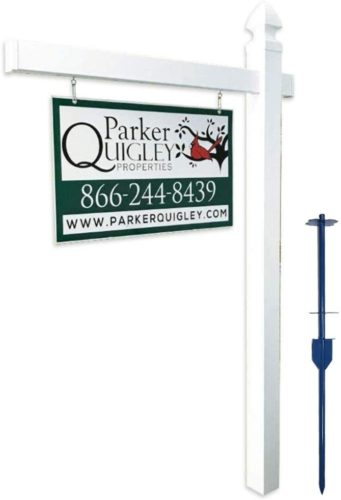 """4Ever Products Vinyl PVC Real Estate Sign Post - White - 6' Tall Post White 47"""" Arm"""