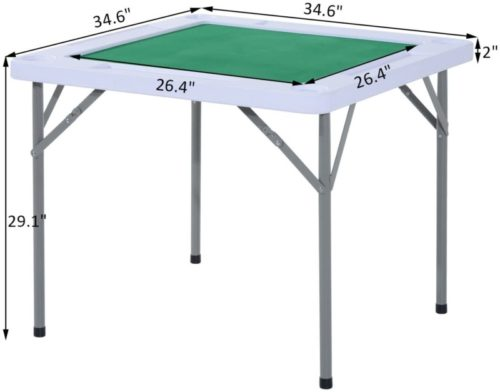 """HOMCOM 35"""" 4-Player Mahjong Game Portable Folding Table for Poker Dominoes Card with Cup and Coin Holders TOP 10 BEST MAHJONG TABLES IN 2020 REVIEWS"""
