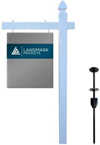 Landmark Vinyl PVC Real Estate Sign Post with Heavy Duty Stake - 6 Feet Tall - White with Gothic Cap