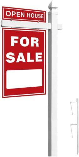 Houseables Real Estate Sign Post, 6' Tall, White, PVC Vinyl, with Gothic Cap, Rider Clips, Outdoor Yard Display, Realtor Signs, for Estate Sales, Open House, Coming Soon, Frame & Stake, Reusable