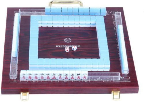 Erencook Miniature Chinese Mahjong Game Set with Foldable Table 144 Mini-Tiles, Case, and Accessories, Travel Set