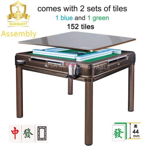 144Tiles 44mm Assembled 已安装 44mm X-Large Tiles Automatic Mahjong 4Legs Dining / Game Table, Chinese / Philippine Style, Comes 2 Sets of Magnetic Tiles without Number (Blue & Green) & One Year Warranty
