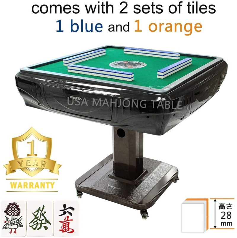 148Tiles 28 mm Japanese Riichi Automatic Mahjong Table with 4 Wheels,Drawers 日本麻雀 マージャン with 2 Sets of Japanese Tiles + One Year Warranty Easy Assembly in 30min