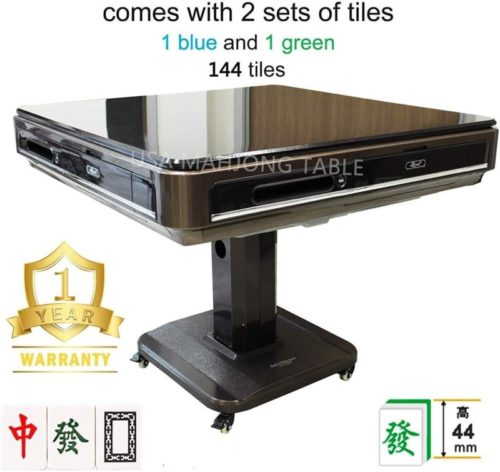 Easy Assembly in 30min 44mm 大尺寸自动麻将桌 Unfoldable Automatic Mahjong Table Ultra Thin w Wheels - Chinese Style, Comes 2 Sets of 44mm Large Tiles Not Fit 166 American Mahjong & Table Cover