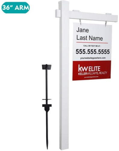 """kdgarden Vinyl PVC Real Estate Sign Post 6ft. Tall (4""""x 4""""x 72"""") Realtor Yard Sign Post for Open House and Home for Sale, 36"""" Arm Holds Up to 24"""" Sign, White with Flat Cap(No Sign)"""
