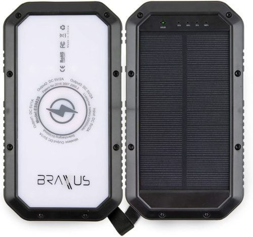 Qi Wireless Charger with Three USB Ports - External Battery Pack with Three LED Flashlights Settings - Water Resistant and Shockproof