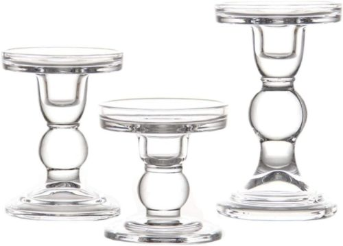 Clear-Glass-Candle-Holder-Set-of-3Elegant-Pillar-Taper-Tealight-Candlesticks-Set-for-Dinner-Table-Wedding-Party-Home-Decor