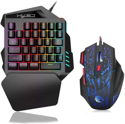 Docooler-J50-One-Handed-Gaming-Keyboard-35-Keys-LED-Backlight-Wired-Gaming-Mouse-with-Breathing-Light-5500-DPI-7-Button-Keyboard-and-Mouse-Combo