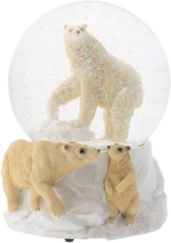 Elanze-Designs-Playing-Polar-Bear-Family-100MM-Musical-Water-Globe-Plays-Tune-Wonderful-World