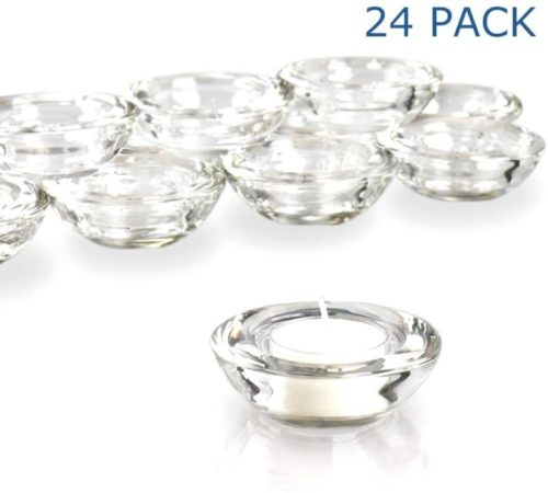 Elivia-Clear-Tealight-Candle-Holders-Set-of-24-Round-Chunky-Glass-Candle-Holder-3-Diameter