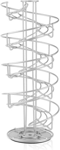 Flexzion-Egg-Skelter-360-Degree-Rotatable-Spiral-Design-Dispenser-Large-Chrome-Plated-Deluxe-Modern-Standing-Storage-Display-Rack-Organizer-Holder-for-Countertop-Kitchen-Silver