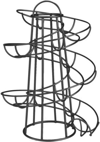 Flexzion-Egg-Skelter-Deluxe-Modern-Spiraling-Dispenser-Rack-Medium-Chrome-Plated-Freestanding-Wire-Chicken-Egg-Storage-Organizer-Display-Holder-Basket-for-Countertop-Kitchen-Black