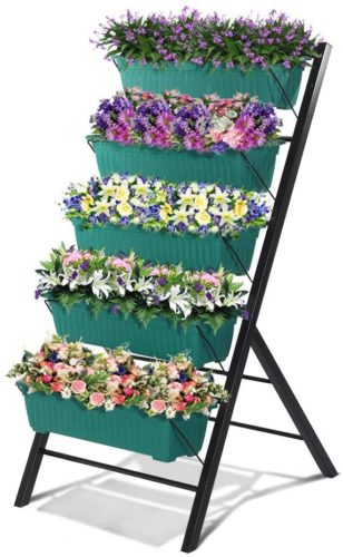 Cascading Water Drainage 5 Container Boxes Freestanding Elevated Plastic Planters with 15 Pcs Plant Labels