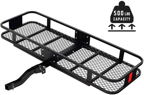 SUNCOO 500 LBS Basket Trailer Hitch Cargo Carriers - Luggage Rack for Vehicles