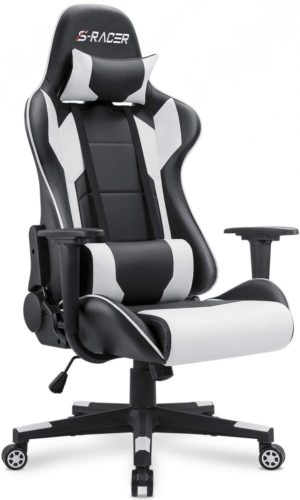 Homall Gaming Chair Office Chair High Back (White)