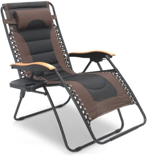 XL Black Brown with Cup Holder Lounge Patio Chairs