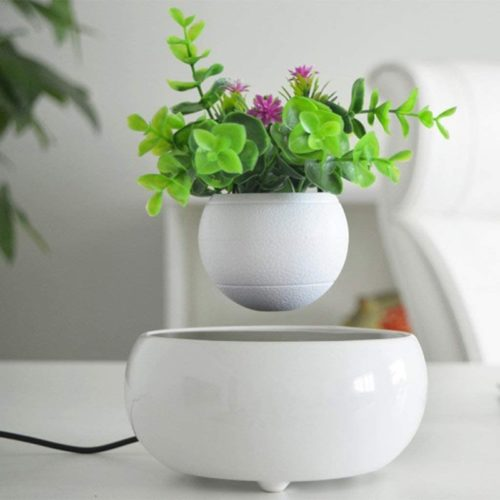Magnetic Levitating Air Bonsai Suspension Floating Flower Pot Potted for Home Office and Garden Seasonal Decoration Start Business Gift (No Plant) White