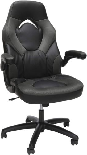 OFM Essentials Collection Racing Style Bonded Leather, in Gray (ESS-3085-GRY)