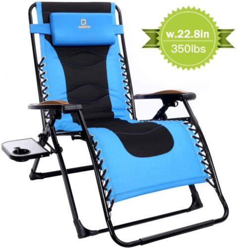 Padded Patio Outdoor Lounge Recliner Chair with Adjustable Headrest and Side Table Support