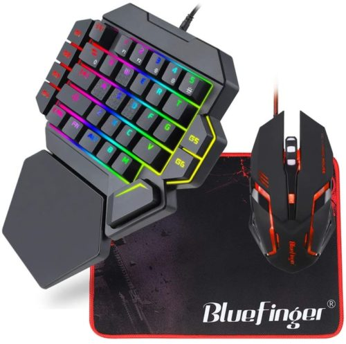RGB-One-Hand-Mechanical-Gaming-Keyboard-and-Backlit-Mouse-ComboBlueFinger-USB-Wired-Rainbow-Letters-Glow-Single-Hand-Mechanical-Keyboard-with-Wrist-Rest-Support-Gaming-Keyboard-Set-for-Game