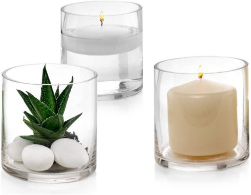 Set-of-3-Glass-Cylinder-Vases-4-Inch-Tall-Multi-use-Pillar-Candle-Floating-Candles-Holders-or-Flower-Vase-Perfect-as-a-Wedding-Centerpieces
